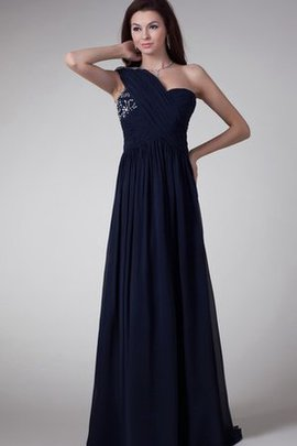 Floor Length A-Line Chiffon One Shoulder Crystal Evening Dress
