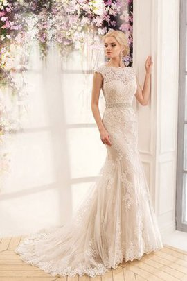 Short Sleeves Romantic Court Train Beading Wedding Dress