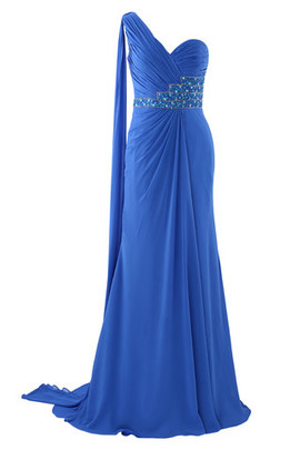 Hall Mid Back Formal Natural Waist One Shoulder Evening Dress