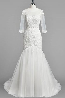 Lace Tulle Court Train 3/4 Length Sleeves Elegant & Luxurious Wedding Dress