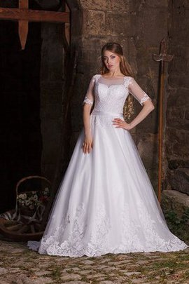 Natural Waist Tulle Half Sleeves Bateau Appliques Wedding Dress