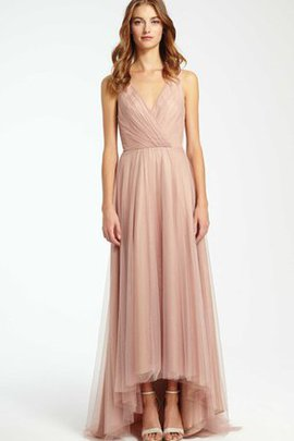 Simple High Low V-Neck Elegant & Luxurious A-Line Bridesmaid Dress