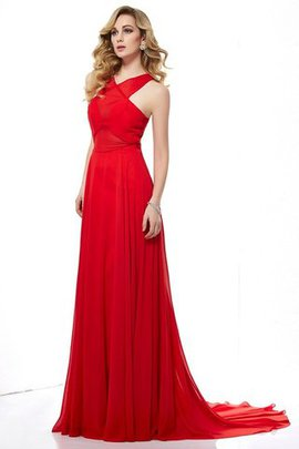 Natural Waist Halter Long Sweep Train Sleeveless Evening Dress