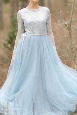 Simple Lace Pleated Long Sleeves High Neck Bridesmaid Dress