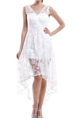 A-Line Sleeveless High Low Elegant & Luxurious Lace Fabric Bridesmaid Dress