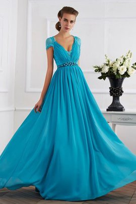 Floor Length Chiffon Long A-Line Evening Dress
