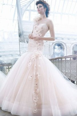 Flowers Sleeveless One Shoulder Lace Fabric Tulle Wedding Dress