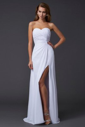 Zipper Up Sheath Draped Long Sweetheart Evening Dress