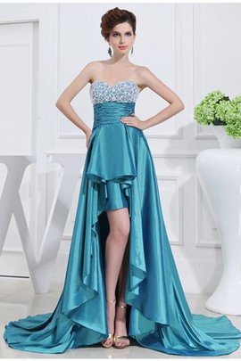 Beading High Low Sleeveless Natural Waist Prom Dress