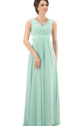 V-Neck A-Line Chiffon Simple Floor Length Bridesmaid Dress