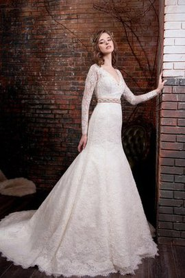 Lace Fabric Natural Waist Mermaid Long Sleeves V-Neck Wedding Dress