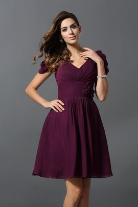 Short Zipper Up Flowers Chiffon V-Neck Bridesmaid Dress