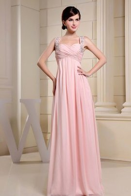 Pleated Empire Waist Crystal Chiffon Spaghetti Straps Evening Dress