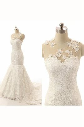 Mermaid Ruffles Sleeveless Lace Fabric Floor Length Wedding Dress