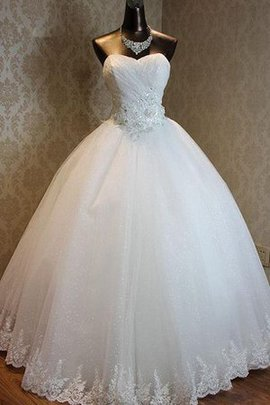 One Shoulder Floor Length Tulle Long Sweetheart Wedding Dress