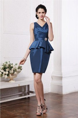 Sheath V-Neck Natural Waist Beading Taffeta Cocktail Dress
