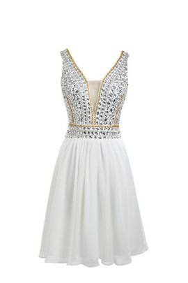 Romantic Sleeveless Sheer Back Hall Starry Cocktail Dress