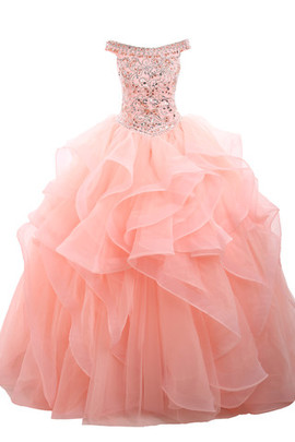 Fancy Beading Crystal Floral Pin Sequined Quinceanera Dress