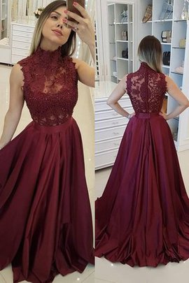 Sweet Natural Waist Sleeveless Sweep Train High Neck A-Line Princess Prom Dress