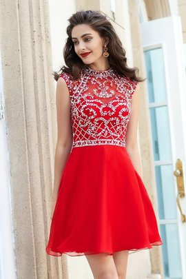 A-Line Sleeveless Natural Waist Beading Chiffon Homecoming Dress