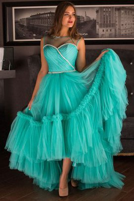 Keyhole Back Ruffles Tulle A-Line Short Sleeves Prom Dress