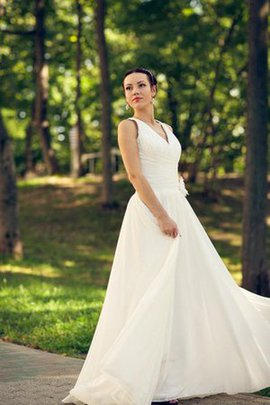 V-Neck Floor Length Ruched Chiffon Simple Wedding Dress