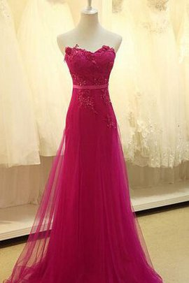 Lace Fabric Zipper Up Sweetheart Chiffon Tulle Prom Dress