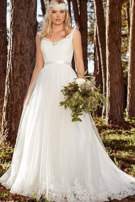 Lace Fabric Capped Sleeves V-Neck Pleated A-Line Wedding Dress