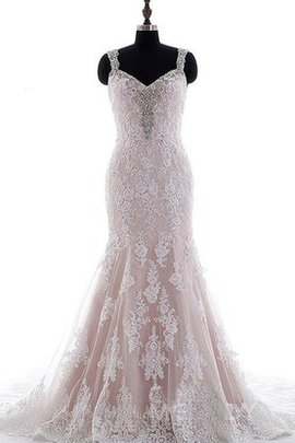 Spaghetti Straps Beading Court Train Backless Lace Wedding Dress