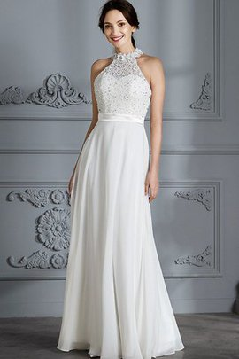 Natural Waist Sleeveless Floor Length Princess Chiffon Wedding Dress