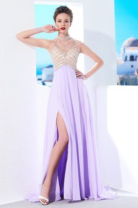A-Line Sweep Train High Neck Chiffon Natural Waist Evening Dress