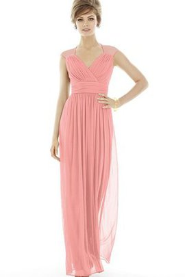V-Neck Ruched Floor Length Criss-Cross Chiffon Bridesmaid Dress