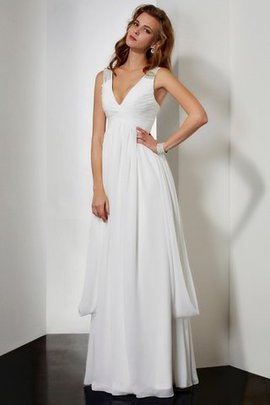 Natural Waist V-Neck Zipper Up Sleeveless Chiffon Prom Dress