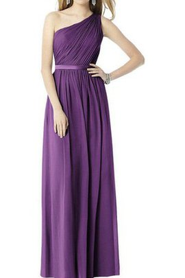 Ruched Chiffon A-Line One Shoulder Long Bridesmaid Dress