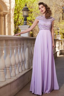 A-Line Natural Waist Chiffon Zipper Up Beading Evening Dress