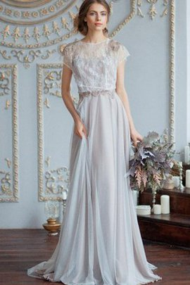 Floor Length Capped Sleeves Bateau Keyhole Back Beading Wedding Dress