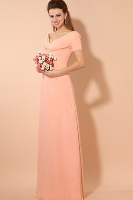 Floor Length Ruched Short Sleeves Chiffon V-Neck Evening Dress