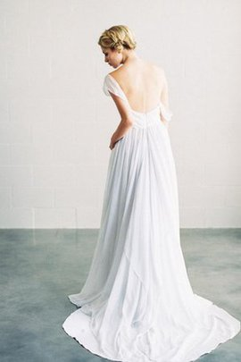 Simple Appliques Sleeveless Ruched Sweep Train Wedding Dress