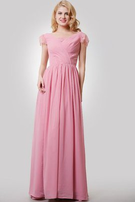 Lace Floor Length Short Sleeves Ruched Zipper Up Bridesmaid Dress
