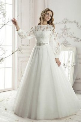 Pleated Simple Lace Long Sleeves Vintage Wedding Dress