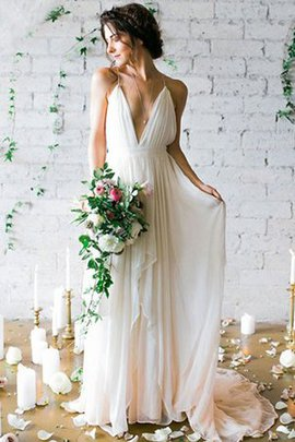 V-Neck Outdoor Sweep Train Romantic Princess Graceful Sexy Wedding Dress