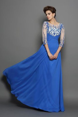 Floor Length Appliques A-Line Half Sleeves Chiffon Evening Dress