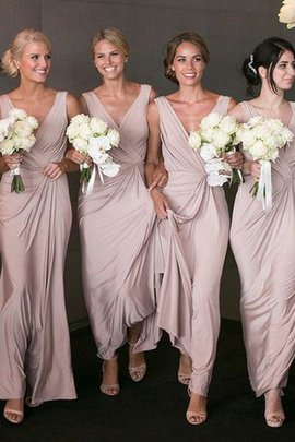 Natural Waist Sleeveless Floor Length A-Line Bridesmaid Dress
