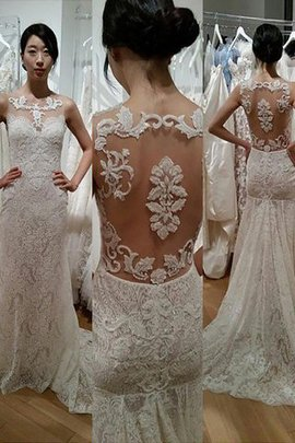 Mermaid Sweep Train Scoop Lace Natural Waist Wedding Dress