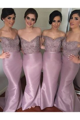 Natural Waist Off The Shoulder Sleeveless Beading Mermaid Bridesmaid Dress