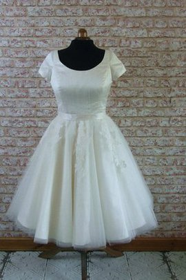 Scoop Natural Waist A-Line Tulle Knee Length Wedding Dress