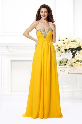 Sleeveless Beading Natural Waist Chiffon A-Line Prom Dress