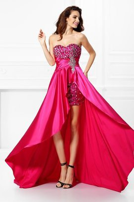 Zipper Up Elastic Woven Satin Sequined Beading Natural Waist Prom Dress
