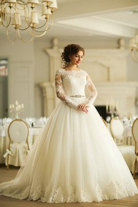 Lace-up Chapel Train Ball Gown Floor Length Natural Waist Wedding Dress