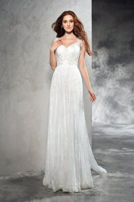 Sleeveless Spaghetti Straps A-Line Court Train Wedding Dress